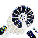 2pcs/set Fashion Transparent&Laser Flame Mixed Size Shining Resin Jelly Rhinestone Decoration Nail Art Round Disc Glitter Rhinestone DIY Beauty