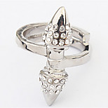Bohemian Punk Conical Rhinestone Ring Couple's Daily Adjustable Silver Rings Movie Jewelry