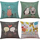 Set of 4 Cute Cartoon Animal Pattern  Linen Pillowcase Sofa Home Decor Cushion Cover