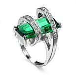 Women's Men's Ring Emerald Unique Design Euramerican Fashion Zircon Alloy Jewelry Jewelry 147 Wedding Special Occasion Anniversary