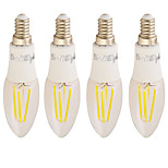 YouOKLight 4PCS E14 4W 350LM AC85-265V 4*COB LED Warm White 3000K Edison Candle Bulbs LED Filament Light