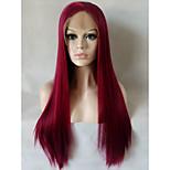 Естественные парики синтетический Лента спереди парики Средний Длиный Темное вино Волосы