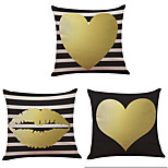 Set of 3  Golden Love Pattern  Linen Pillowcase Sofa Home Decor Cushion Cover