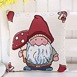 1 Pcs Mushroom With Dwarf Pillow Cover Vintage Cotton/Linen Pillow Case