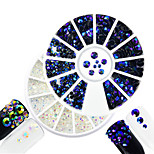 2pcs/set Fashion Transparent&Montana Mixed Size Shining Resin Jelly Rhinestone Decoration Nail Art DIY Beauty Glitter Rhinestone
