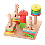 Pegged Puzzles For Gift  Building Blocks Natural Wood 3-6 years old Toys