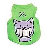 Кошка Собака Футболка Жилет Одежда для собак На каждый день Животные Красный Зеленый Синий Розовый