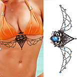 1pcs Beast Colorful Tattoo Sticker Blue Gemstone Design Tattoo Chest Sticker Temporary Tattoo Body Art