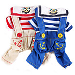 Dog Clothes/Jumpsuit Dog Clothes Cute Fashion Casual/Daily Stripe Red Blue