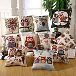 19 Style Owl Design Pillow Covers Cotton/Linen Pillow Case