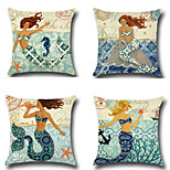 Set Of 4 Mermaid Printing Pillow Cover Bohemia Style Pillow Case 45*45Cm Sofa Cushion Cover