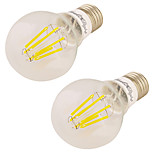 YouOKLight 2PCS E26/E27 7W 600LM AC85-265V 6*COB LEDs Warm White 3000K Globe Bulbs Edison LED Filament Light