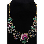 Euramerican Luxury Fuchsia Personalized  Elegant Rhinestone  Fresh Flower Necklace Lady Party Statement Jewelry