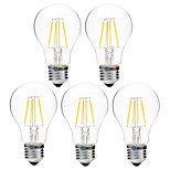 5pcs BRELONG Dimming A60 E27 4W 4LED 300LM Antique Filament Lamp Warm White / White AC22OV Transparent Bulb Light