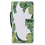For Huawei P8 Lite (2017) P10 Case Cover Green Leaves Pattern Painted PU Skin Material Card Stent Wallet Phone Case P10 Plus P10 Lite