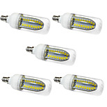 5PCS 5W E12 LED Corn Lights  80 SMD 5730 1000 lm Warm White /White AC 220-240V No strobe
