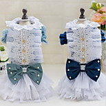 Other Dress Dog Clothes Cute Casual/Daily Wedding Princess Light Blue Dark Blue