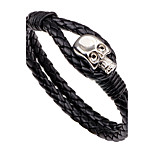 Men's Leather Bracelet Simple Casual Unique Cool Fashion Vintage Punk Hip-Hop Rock Skull Leather Band Geometric Jewelry For Party Gift Sports