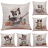 Set of 6 Cartoon Cute Cat Pattern Linen Pillowcase Sofa Home Decor Cushion Cover  Throw Pillow Case (18*18inch)