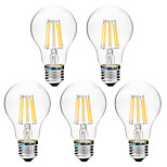 5pcs BRELONG Dimming A60 E27 8W 8LED 600LM Antique Filament Lamp Warm White / White AC22OV Transparent Bulb Light