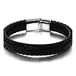 Men's Leather Bracelet Fashion Vintage Punk Hip-Hop Rock Leather Stainless Steel Casual Unqiue Cool Geometric Jewelry For Sport Outdoor Dailywear