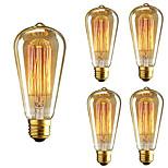 5pcs st64 e27 40w incandescente vintage edison lâmpada para restaurante clube café barras luz ac110-130v