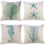 Set Of 4 Hand Painted Starfish Sea Horse Printing Pillow Cover Cotton/Linen Cushion Cover Classic Pillow Case