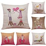Set of 6 Creative Couple Pattern Linen Pillowcase Sofa Home Decor Cushion Cover  Throw Pillow Case (18*18inch)