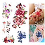 9PCS Different Patterns Set Flower Series Water Transfer DecalsWomen Flash Tattoo Temporary Tattoos