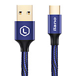 llano Phone USB Cable  Type C 3A Quick Charge Braided Gold Plated Cable For Samsung Huawei LG Lenovo Xiaomi 200cm Aluminum Nylon