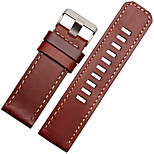 For Garmin Fenix 3 24mm BUREI Watch Band Strap Solid color Leather Classic Buckle