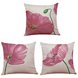 Set of 3  Tulip Pattern  Linen Pillowcase Sofa Home Decor Cushion Cover