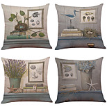 Set of 4 Retro Literary Style  Linen Pillowcase Sofa Home Decor Cushion Cover(18*18)