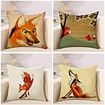 Set Of 4 Cartoon Fox Pattern Pillow Cover Linen Sofa Cushion Cover Creative Pillow Case