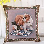 1 Pcs Personality Cat With Dog Pillow Cover European Style Vintage Pillow Case