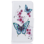 For iPhone 7Plus 7 Phone Case PU Leather Material Peach Butterfly Pattern Painted Phone Case 6s Plus 6Plus 6S 6 SE 5s 5