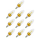 10pcs Gold Shell 7W E14 LED Candle Lights C35 600LM Starry Sky Candelabra Bulb 35SMD 2835 Warm White Decorative for Home Hotel AC220-240V