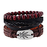 Retro Concise Alloy Maple Weave Woven Leather Beaded Bracelet