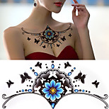 1PCS Gold DIY Chest Flowers Big Tattoo Stickers Colorful Hot Flashes Body Art Temporary Tattoo Sticker