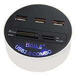HAILE HU-03 White Round 3-Port USB2.0 HUB with Card Reader Function 80cm Cable