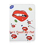 SZKINSTON Red Lips Don't Touch My Pad Case Shockproof with Stand Magnetic Pattern Full Body Leather For All 7.0 - 8.0 Inch Mobile Phone or Tablet
