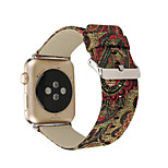 For Apple Watch 1 2 Floral Silk Effect Genuine Leather Watch Strap