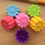 Random Color Set of 12 Reusable and Non-stick Sunflower Shape Silicone Baking Cups / Cupcake Liners/Muffin Cup Molds