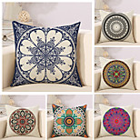 Set Of 6 Bohemian Style Design Flowers Printing Pillow Cover Sofa Cushion Cover Linen Pillow Case