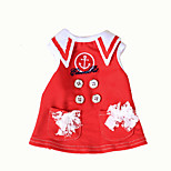 Dog Dress Dog Clothes Classic Casual/Daily Sailor Dark Blue Ruby