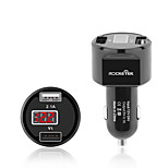 Rocketek car charger Smart IC 3.1A Dual USB mobile phone Charger Adapter led car battery measuring Voltage current car-charger CC2PM
