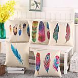 Set Of 5 Bohemia Colorful Feather Pillow Case Creative Cotton/Linen Pillow Cover