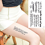5Pcs Waterproof Black Totem Arm Tattoo For Men Women Fake Letters Tatoo Body Art Temporary Tattoo Stickers