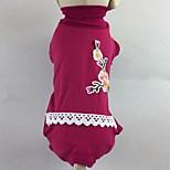 Кошка Собака Футболка Комбинезоны Пижамы Брюки Одежда для собак На каждый день Цветочные / ботанический Розовый Зеленый