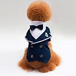 Кошка Собака Футболка Толстовка смокинг Одежда для собак Для вечеринки Косплей Свадьба Цветовые блоки Синий